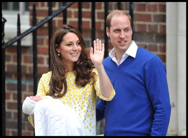 Kate Waves to Crowds Holds daughter