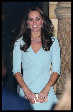 Kate Middleton Jenny Packham Gown Monica Vinedar Earrings 2014 Wildlife Photographer of The Year Awards