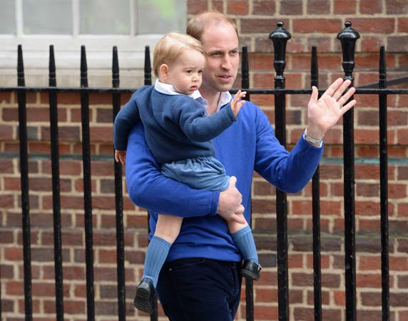 Prince William Prince George Wave Crowds Lindo Wing