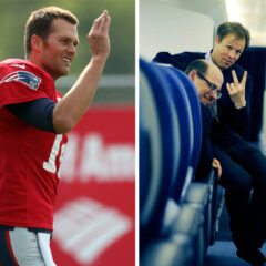 Tom Brady Waves Patriots Tom Bradby Peace Sign