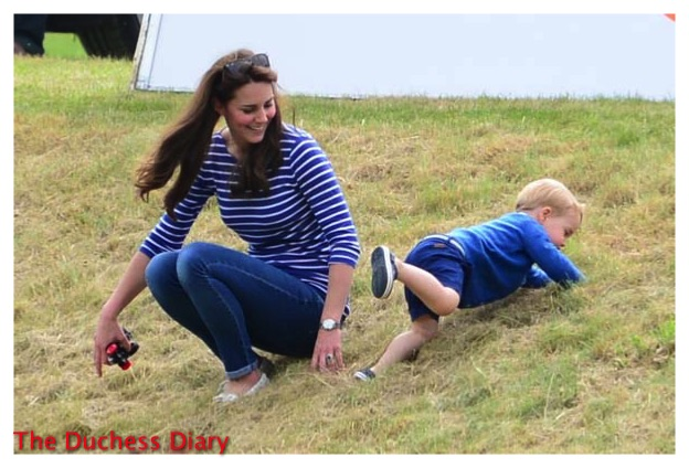Kate Middleton Laughs Prince George Climbs Up HIll Beaufort Polo Club