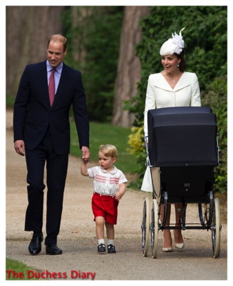 Prince William Holds Prince George Hair Kate Middleton Pushes Pram Princess Charlotte