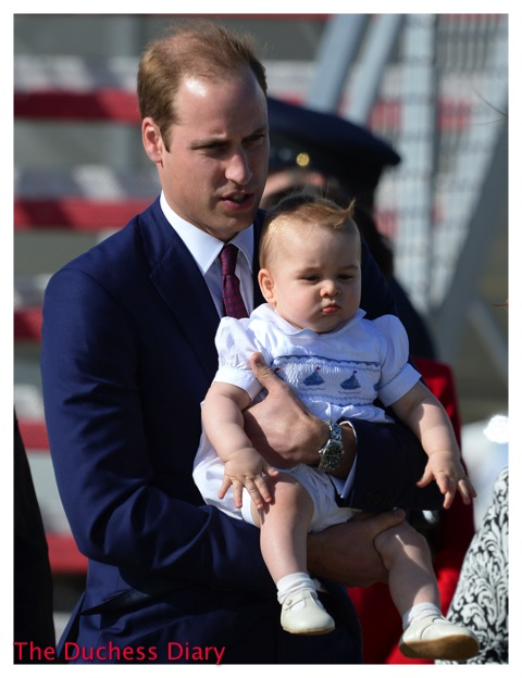 Prince William Holds Prince George Sydney Airport