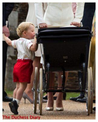 Prince George Looks Princess Charlotte Pram