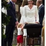 Prince George Looks Pram Holds William's Hand