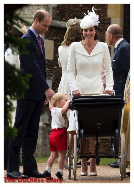 Prince George Looks Pram Holds William's Hand