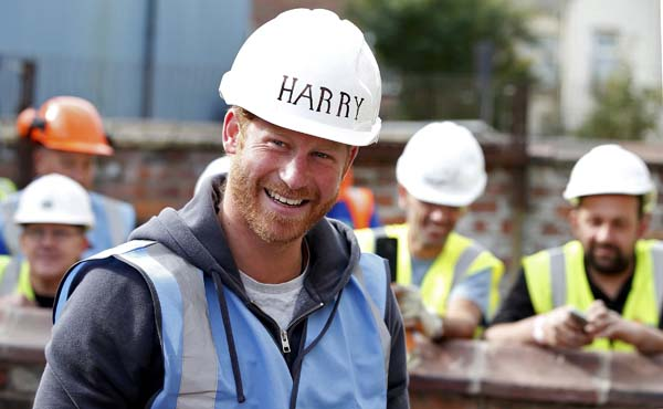 Prince Harry Hard Hat Smiling Manchester BBC DIY SOS