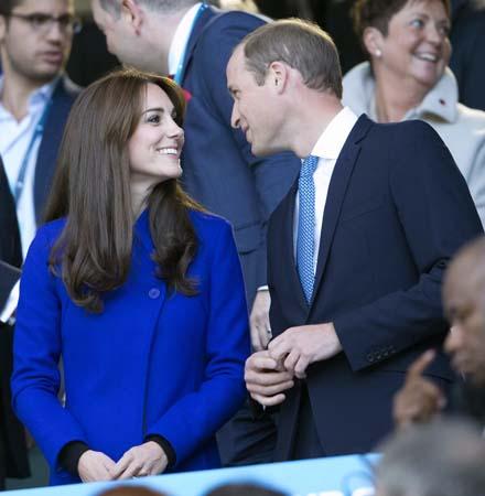 Kate Middleton Blue Reiss Coat Prince William Twickenham