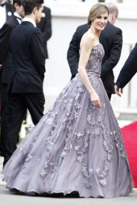 queen letizia lilac gown pre wedding reception london