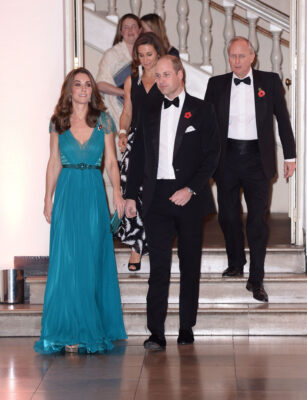 Prince William Kate Middleton Teal Jenny Packham Gown 2018 Tusk Conservation Awards
