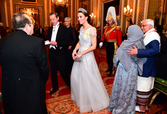 Kate Middleton Jenny Packham Gown Diplomatic Corps Event Buckingham Palace