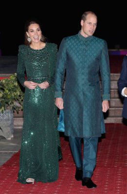 Prince William Kate Middleton Green Jenny Packham Dress Special Reception British High Commission Pakistan