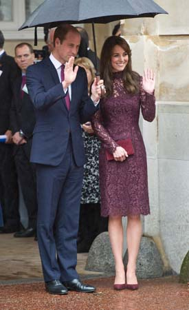 Prince William Suit Kate Middleton Eggplant Dolce Gabanna Dress Lancaster Hosue