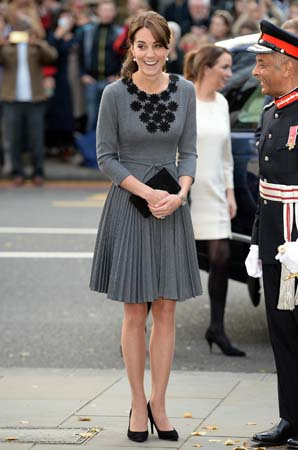 kate middleton grey orla kiely dress islington chance uk