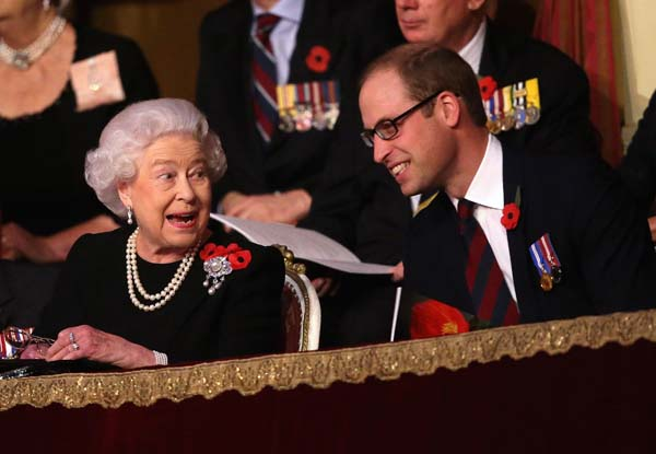 queen elizabeth prince william laugh royal box royal albert hall festival of remembrance