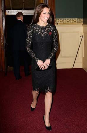 kate middleton black dolce gabbana dress lace festival of remembrance