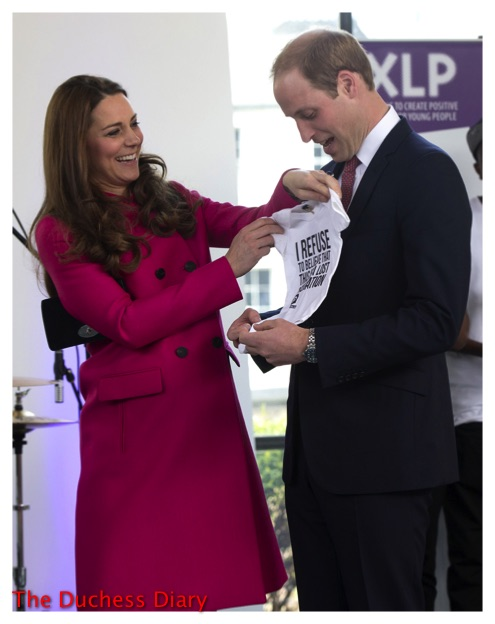 kate middleton pink mulberry coat onesie prince william youth charity XLP