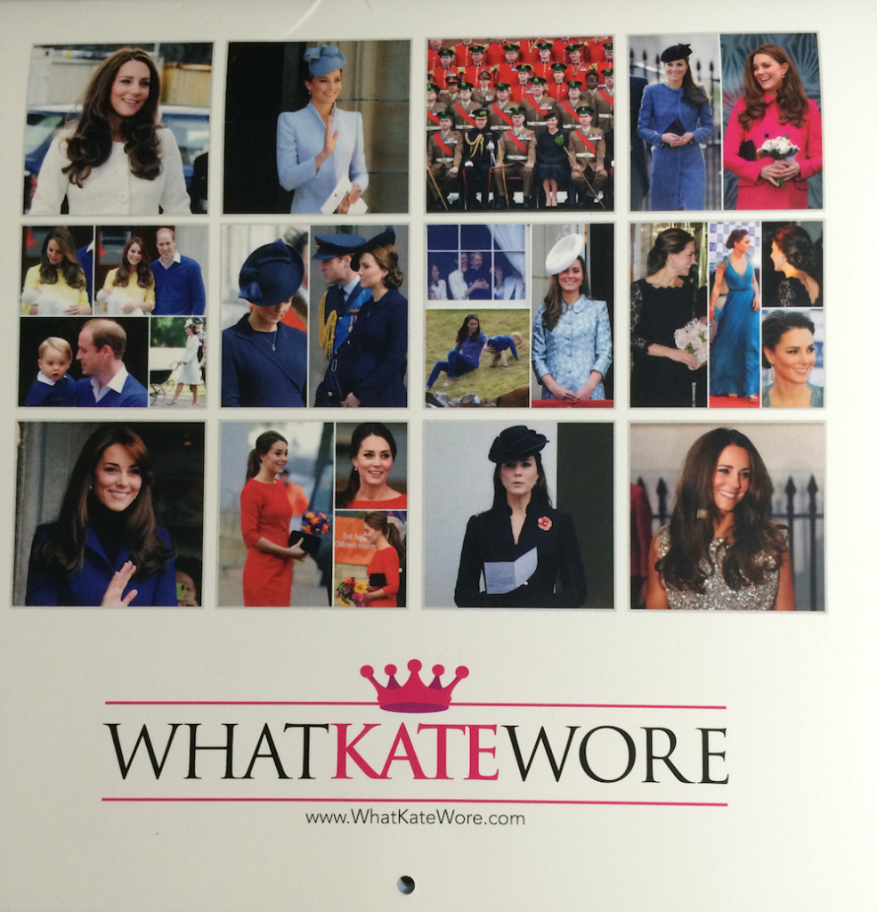 what kate wore 2016 calendar back cover