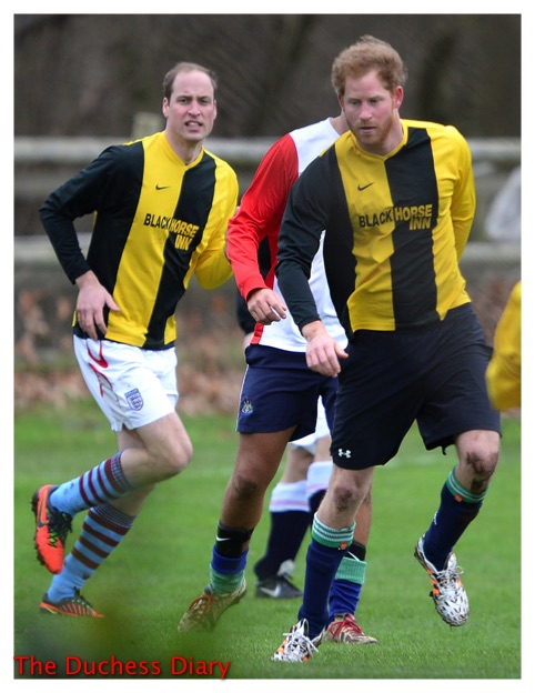 prince william prince harry sandringham soccer game christmas eve 2015