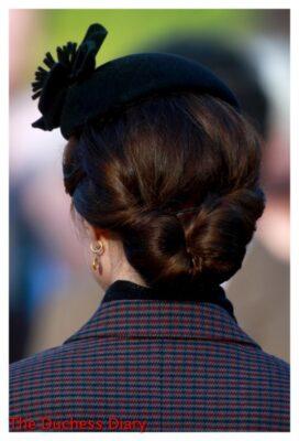 kate middleton hair back shot church service sandringham gallipoli