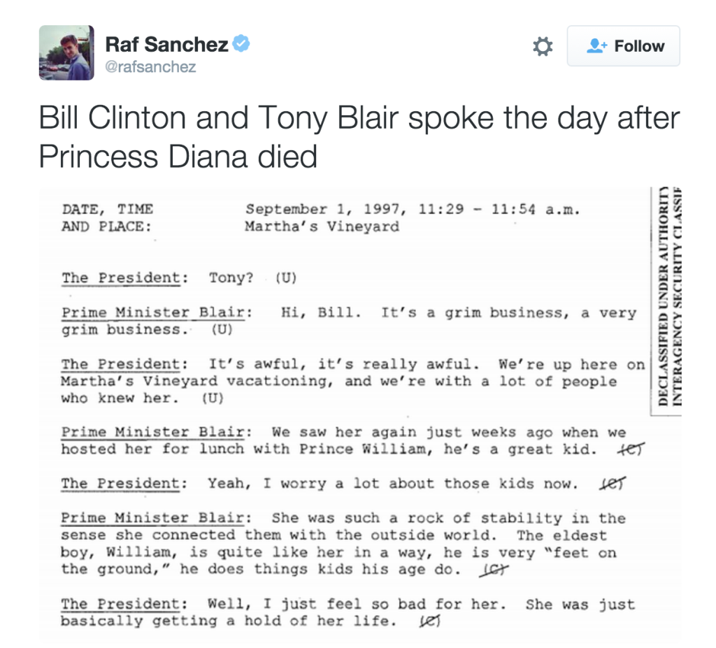 Bill Clinton and Tony Blair Talk About Diana's Death