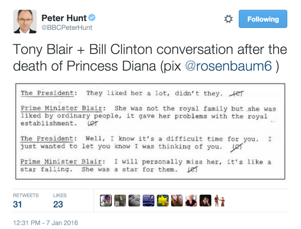 transcript bill clinton tony blair diana's death