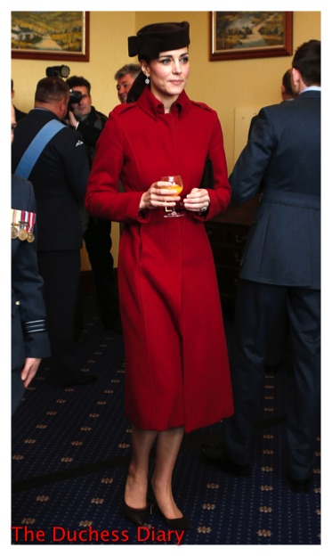 kate middleton red lk bennett coat Sylvia Fletcher for Lock & Co hat raf valley 2016