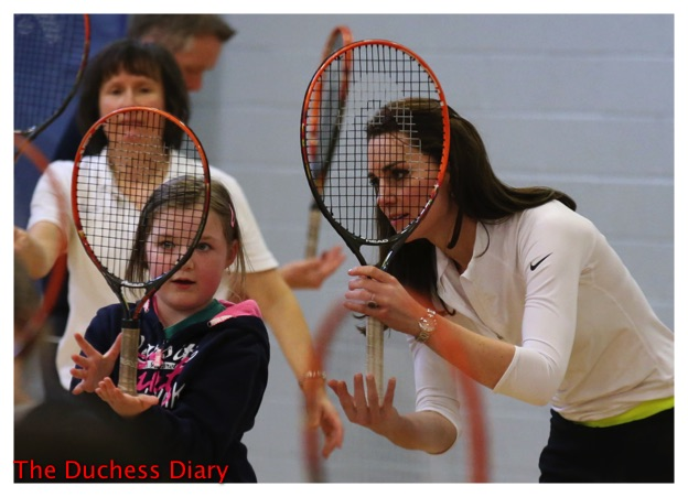 kate middleton young student tennis coaching workshop scotland