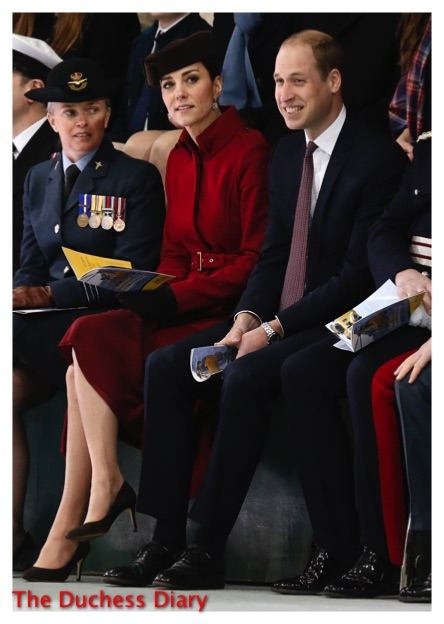 kate middleton red lk bennett coat prince william visit Royal Air Force Valley