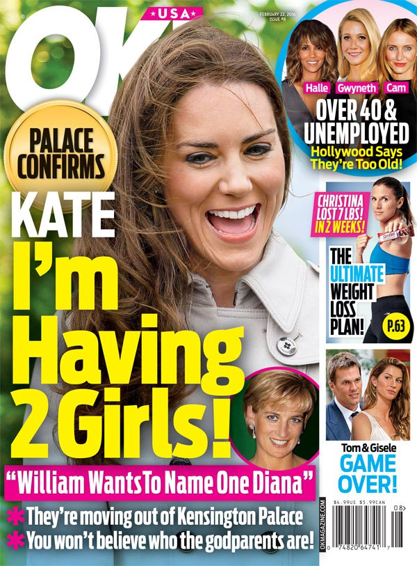 kate middleton having twins OK magazine