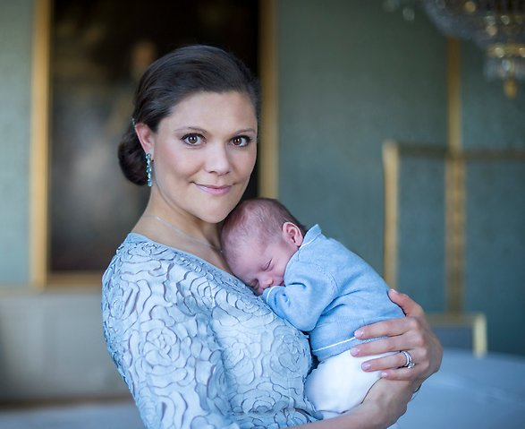 crown princess victoria holds infant son prince oscar swedish royal family