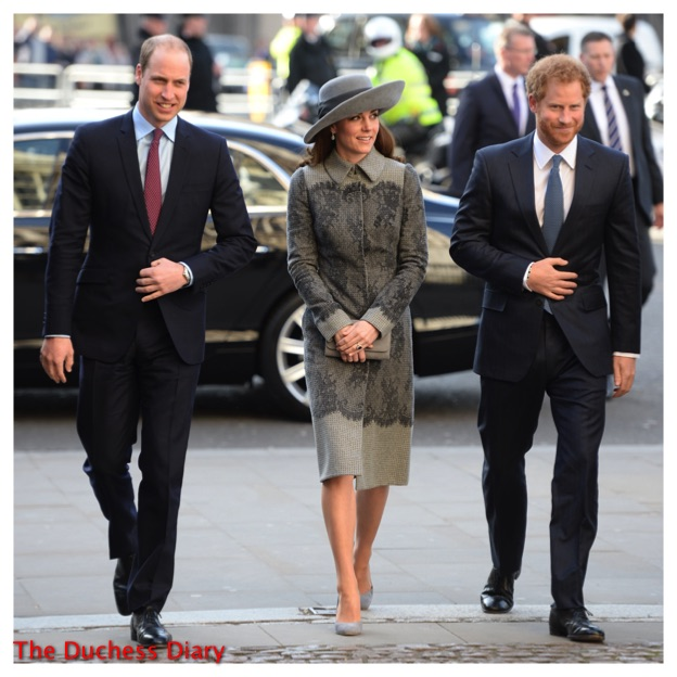 prince william kate middleton grey erdem coat prince harry commonwealth day service