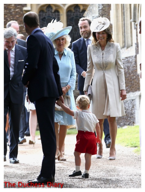 prince george looks at carole middleton duchess cornwall christening princess charlotte