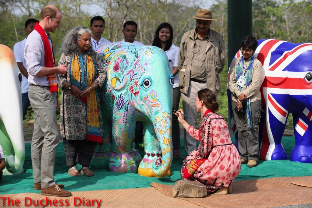 kate middleton paints elephant mark shand foundation