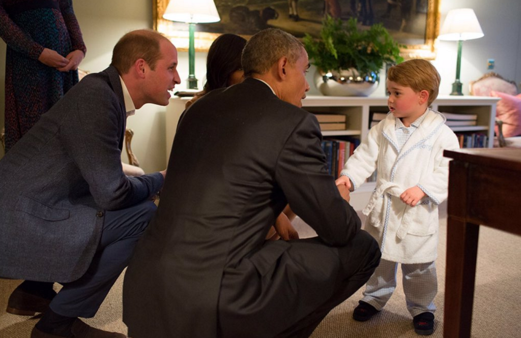 prince george bathrobe greets president obama