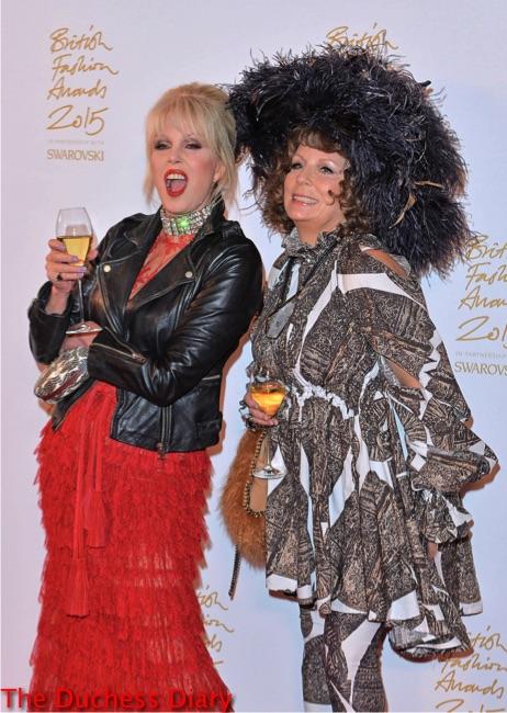 joanna lumley champagne edina monsoon british fashion awards 2015