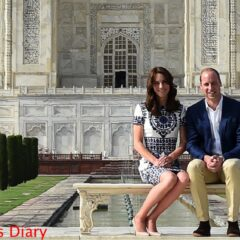 prince william kate middleton sit bench taj mahal