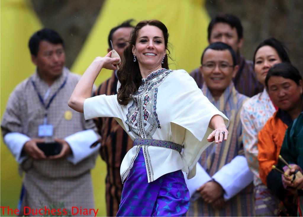The Duchess Of Cambridge Throws a Dart in Bhutan