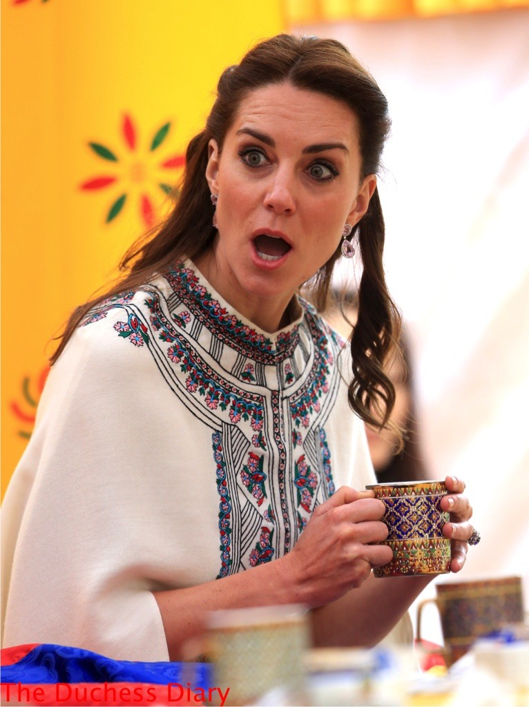 kate middleton sips tea shocked look bhutan