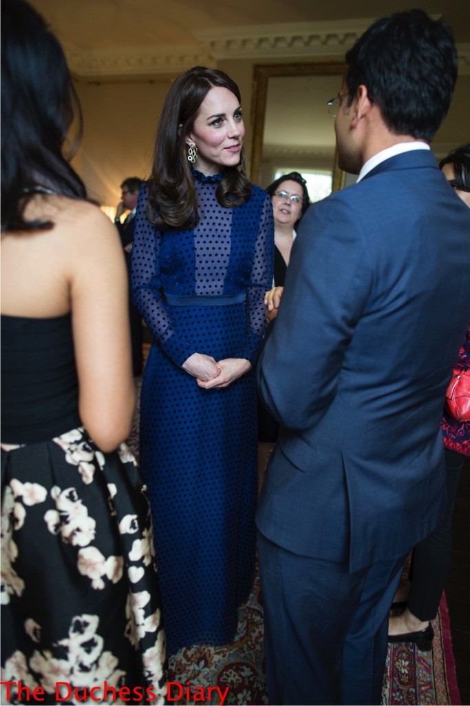 The Duchess of Cambridge (in a Saloni gown) meets young Indian and Bhutanese people living in the UK on April 6th, 2016.