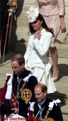 kate middleton white alexander mcqueen coat prince william prince edward order of the garter