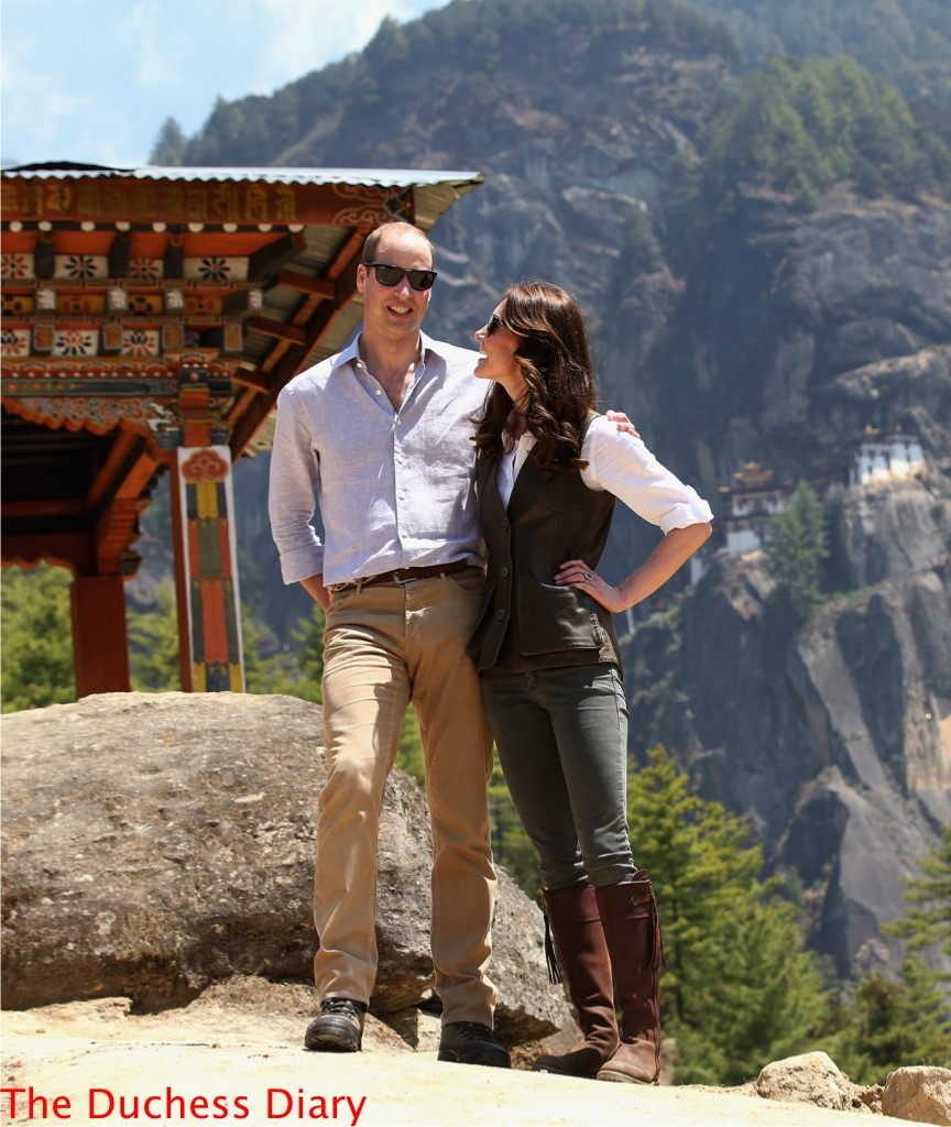 prince william smiles camera kate middleton looks at will bhutan hike