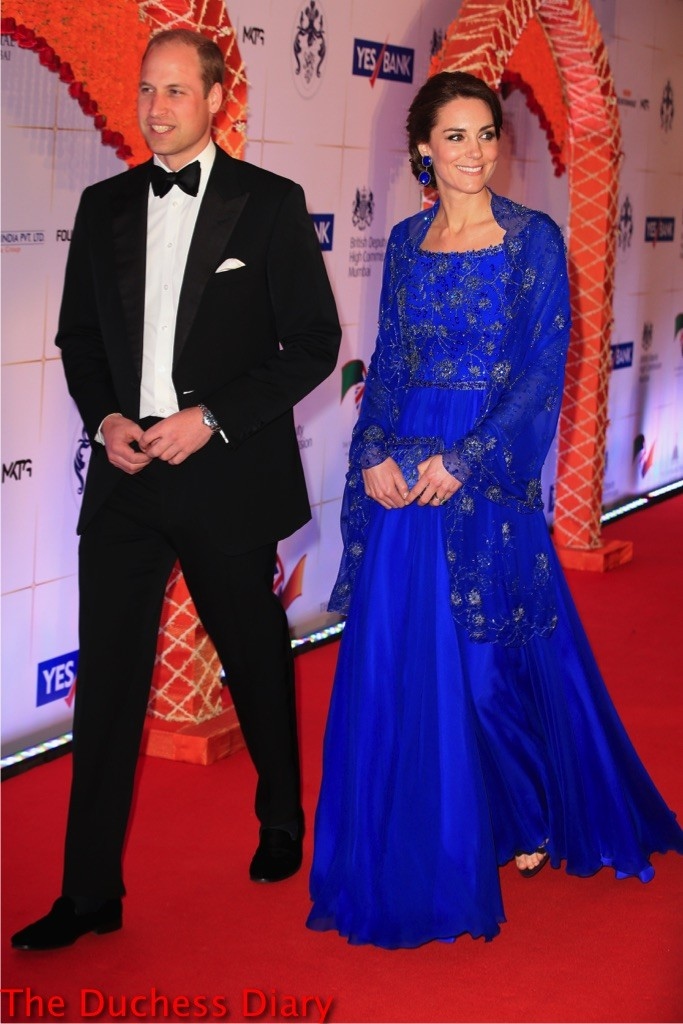 prince william tuxedo kate middleton blue jenny packham dress