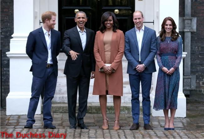prince harry laughs obama pose outside kensington palace