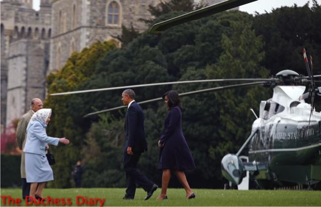 queen elizabeth prince philip greet obamas windsor castle lawn helicopter