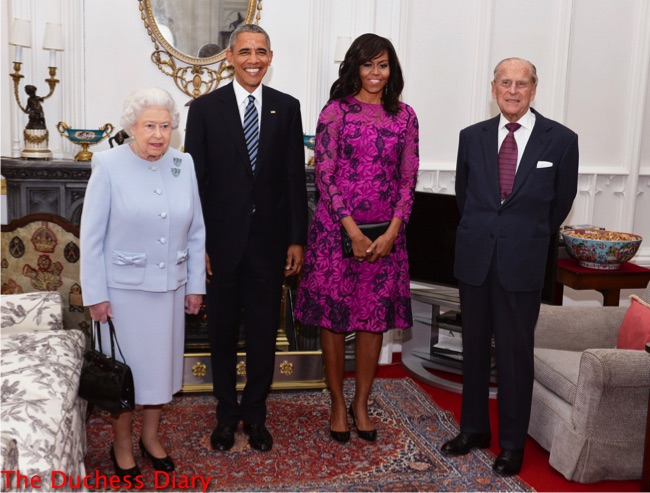 queen elizabeth poses prince philip barack obama michelle obama