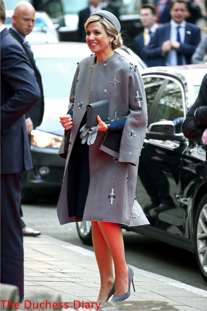 queen maxima embellished grey coat Tucherschloss
