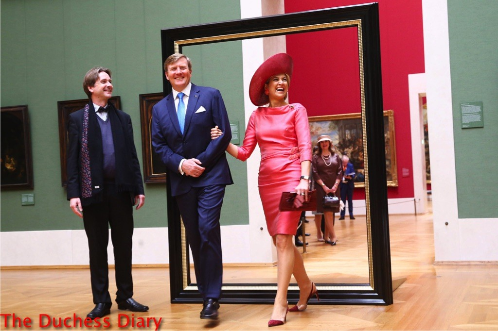king willem alexander queen maxima pink outfit museum exhibit