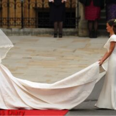 Pippa Middleton Holds Kate Middleton Alexander McQueen Royal Wedding Train