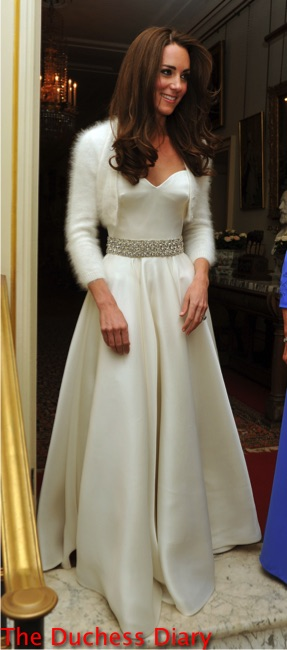 kate middleton bejeweled white alexander mcqueen gown clarence house